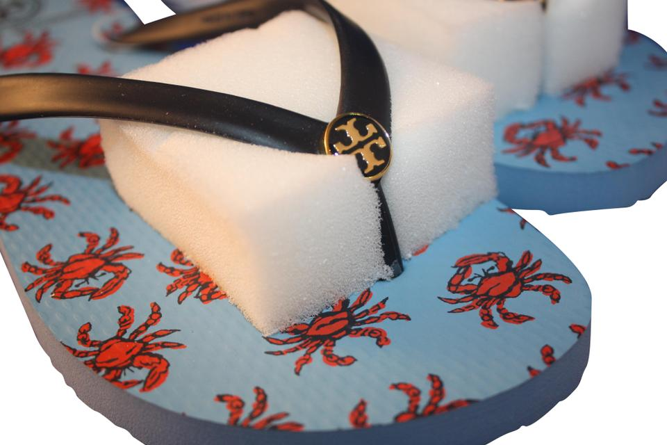 Tory Burch Navy Vista Crab Print Thin Thong Vista Navy Blue Flip Flop 21168781 Sandals ac4f4e