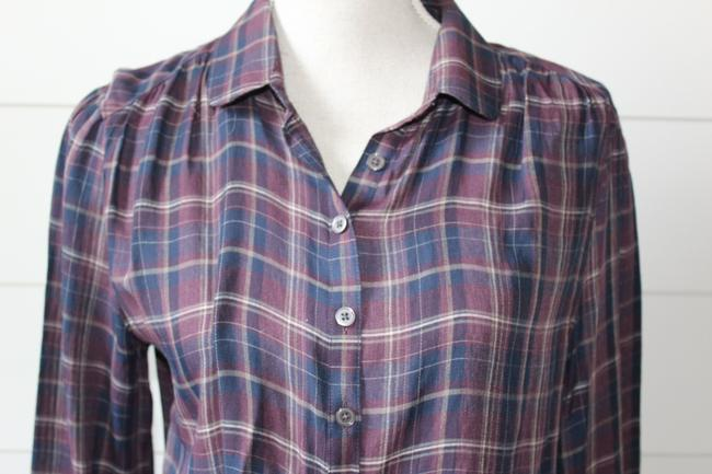 Ann Taylor LOFT Pop Over Button Down Shirt navy, purple and cream plaid
