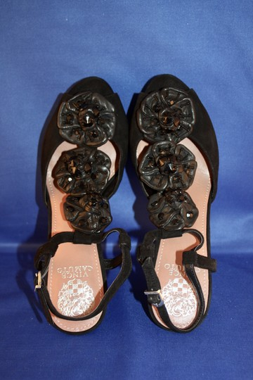 Vince Camuto Mist T Strap Beaded Embellished Flower black Formal