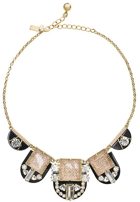 Item - 12k Gold Plate with Faceted Black and Crystals Imperial Tile Necklace