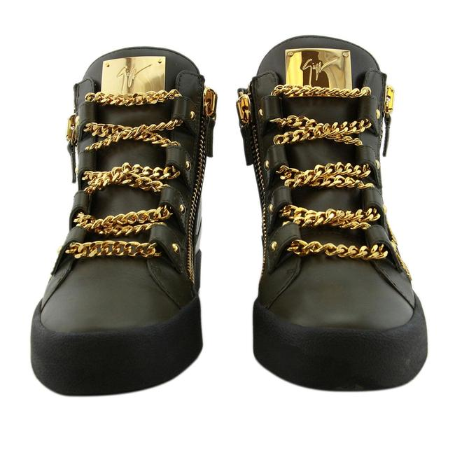 Item - Dark Green New Men Gold Chain Lace High-top Zip Leather Eu 42 Sneakers Size US 9 Regular (M, B)