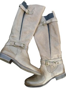 Naturalizer Tall Zip Up Elastic Sides Leather Side Buckles Brown Boots