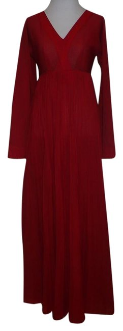 Preload https://img-static.tradesy.com/item/22409714/red-v-neck-empire-waist-kimono-sleeve-pintuck-vintage-hostesscocktail-long-cocktail-dress-size-2-xs-0-3-650-650.jpg