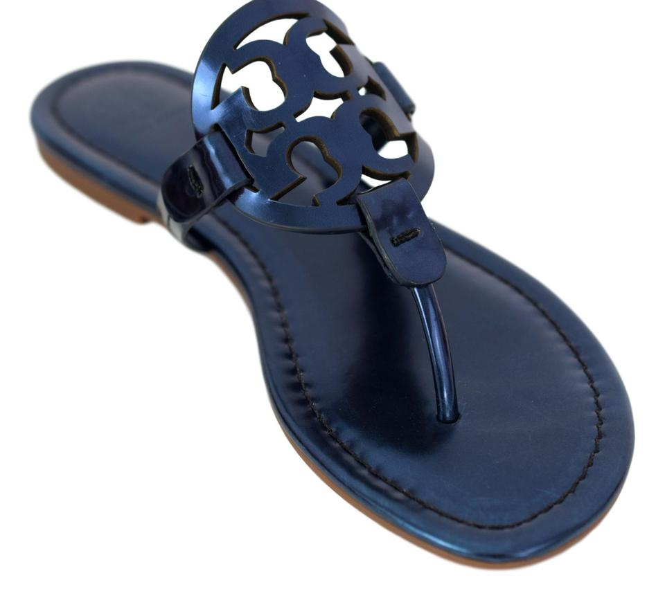 70e49b677 Tory Burch Blue Miller Metallic Leather Sandals. Size  US 8 Regular (M ...