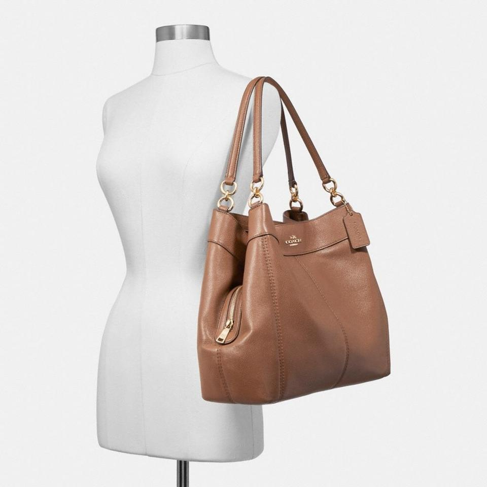 Coach Lexy Light Gold Saddle 2 Refined Natural Pebble Leather ... 6d3f2b6b4bbb9