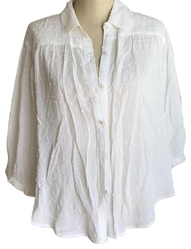 Free People Winter White Button Down Blouse Size 8 (M) 72% off retail
