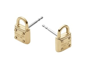 Michael Kors MICHAEL KORS GOLD STAINLESS STEEL MINI PADLOCK STUD EARRINGS W BAG