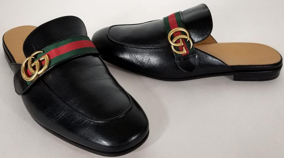 311add0d036 Gucci Black Princetown Leather Men s Slipper with Double G Mules Slides