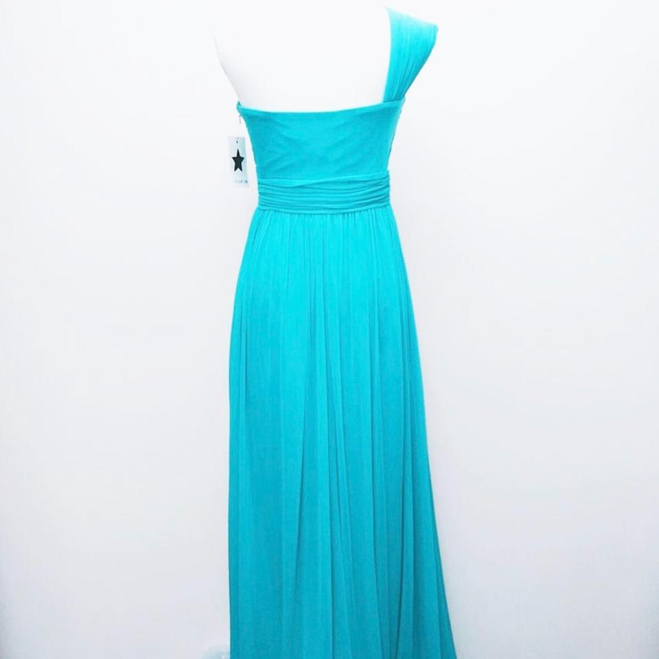 Mikael Aghal Blue Evening Gown Long Night Out Dress Size 8 (M) - Tradesy