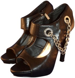 House of Deréon Chain Peep Toe Sandal Bootie black Platforms