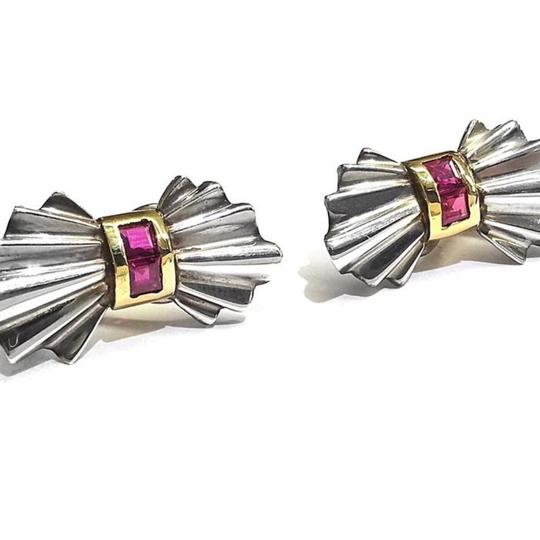 Tiffany & Co. GORGEOUS Tiffany & Co. Sterling Silver & 14 Karat Yellow Gold Clio Earrings with Rubies