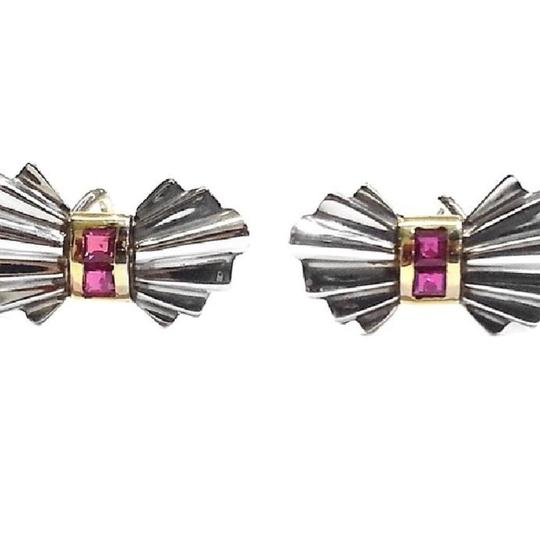 Tiffany & Co. BEAUTIFUL Tiffany & Co Vintage Sterling Silver & 14 karat Yellow Gold Clip Earrings With Rubies
