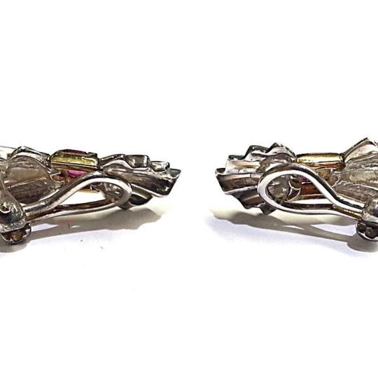 Tiffany & Co. GLAMOROUS Tiffany & Co Vintage Sterling Silver & 14 karat Yellow Gold Clip Earrings With Rubies