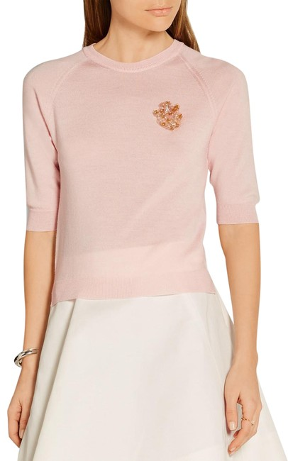 Preload https://img-static.tradesy.com/item/22410570/simone-rocha-pink-floral-appliqued-merino-wool-silk-and-cashmere-blend-sweaterpullover-size-2-xs-0-3-650-650.jpg