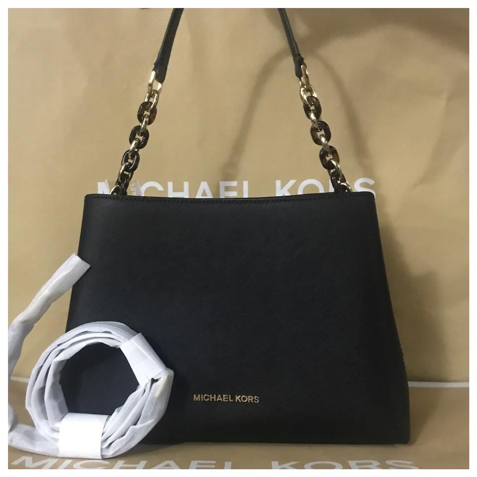 004e325ddc2a Michael Kors Mk Portia Large Ew Leather Black Satchel - Tradesy