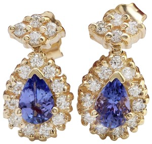 Other 1.75CTW Natural Tanzanite & Diamond 14K Solid Yellow Gold Stud Earring