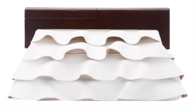 Item - Ruffle White Leather Clutch