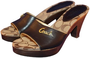 Coach Clog Logo Gold Chestnut Brown Signature Sandals
