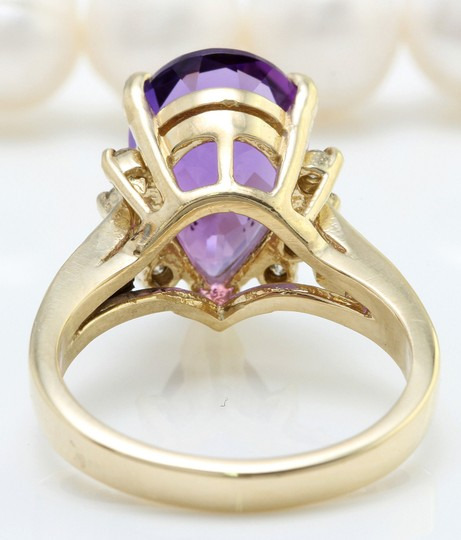 Other 4.25 CTW Natural Amethyst & Diamonds in 14K Solid Yellow Gold Ring