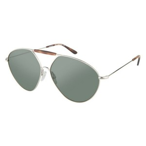 Valentino Valentino V122S Oversized Aviator Sunglasses Gold Solid Green