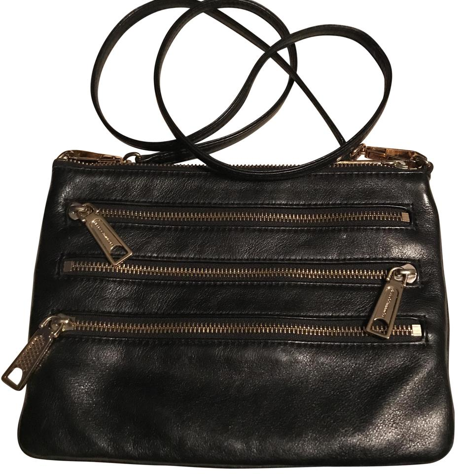 5baa8e1cea Rebecca Minkoff 3 Zip Rocker Black Leather Cross Body Bag - Tradesy