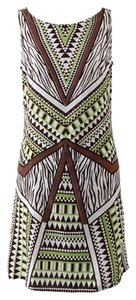 Other short dress Lime Green Brown white Tribal Geometric Spring Boatneck on Tradesy
