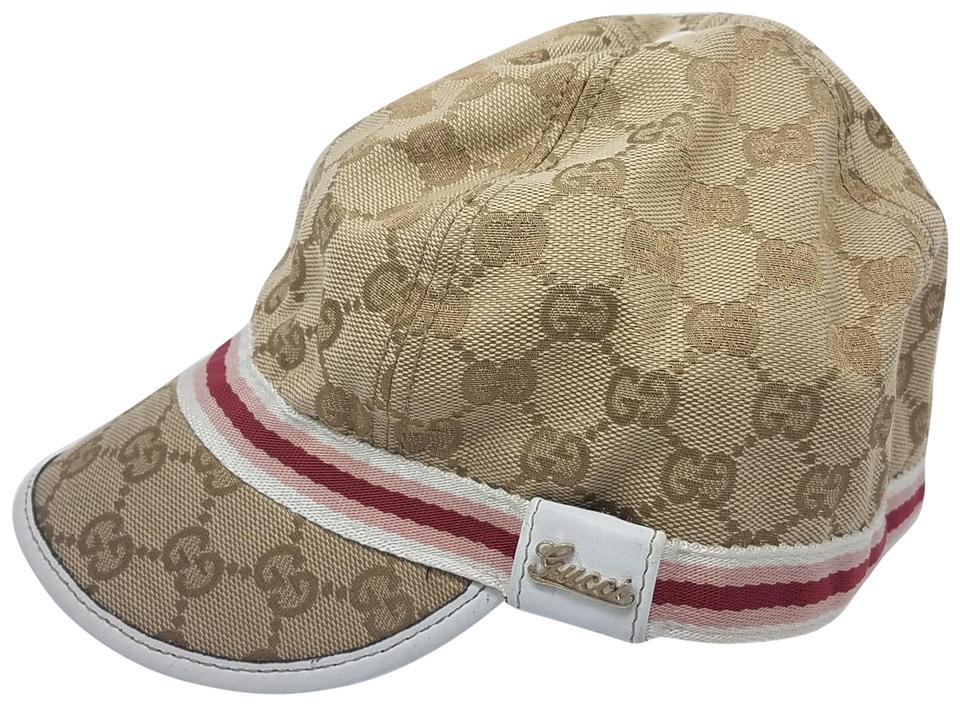 Gucci Brown Beige Pink Tan Creme Gg Web Monogram Canvas Cap L Hat ... da1e37d2ce6