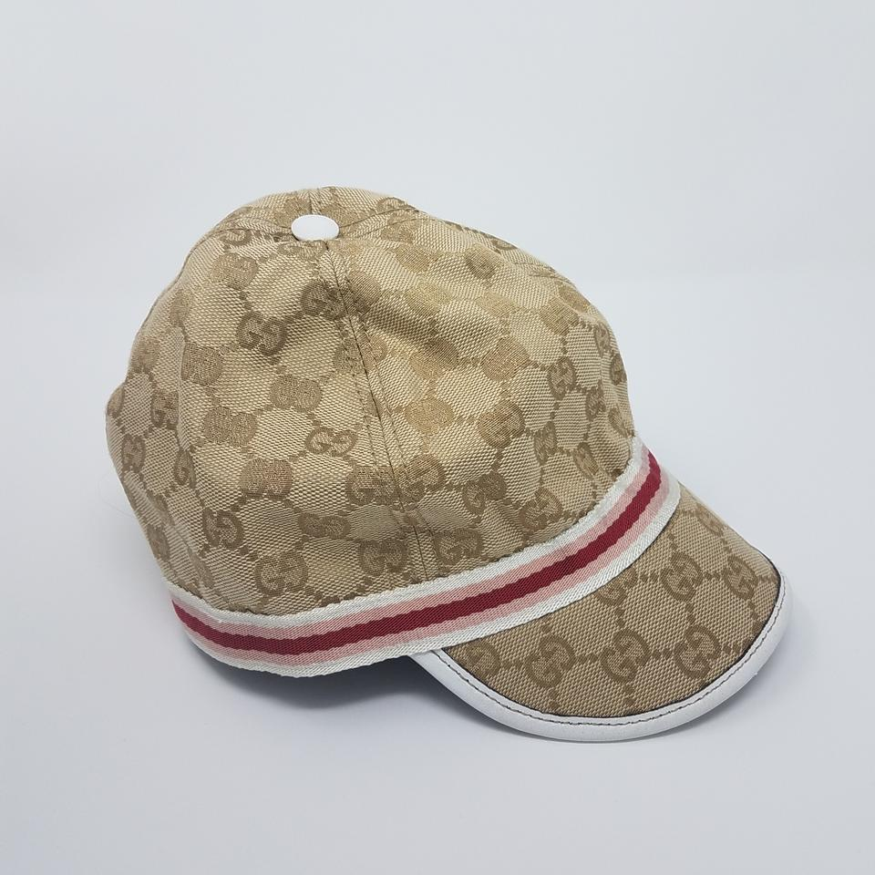 a2884628f8e96 Gucci Brown Beige Pink L Tan Creme Gg Web Monogram Canvas Cap Hat ...