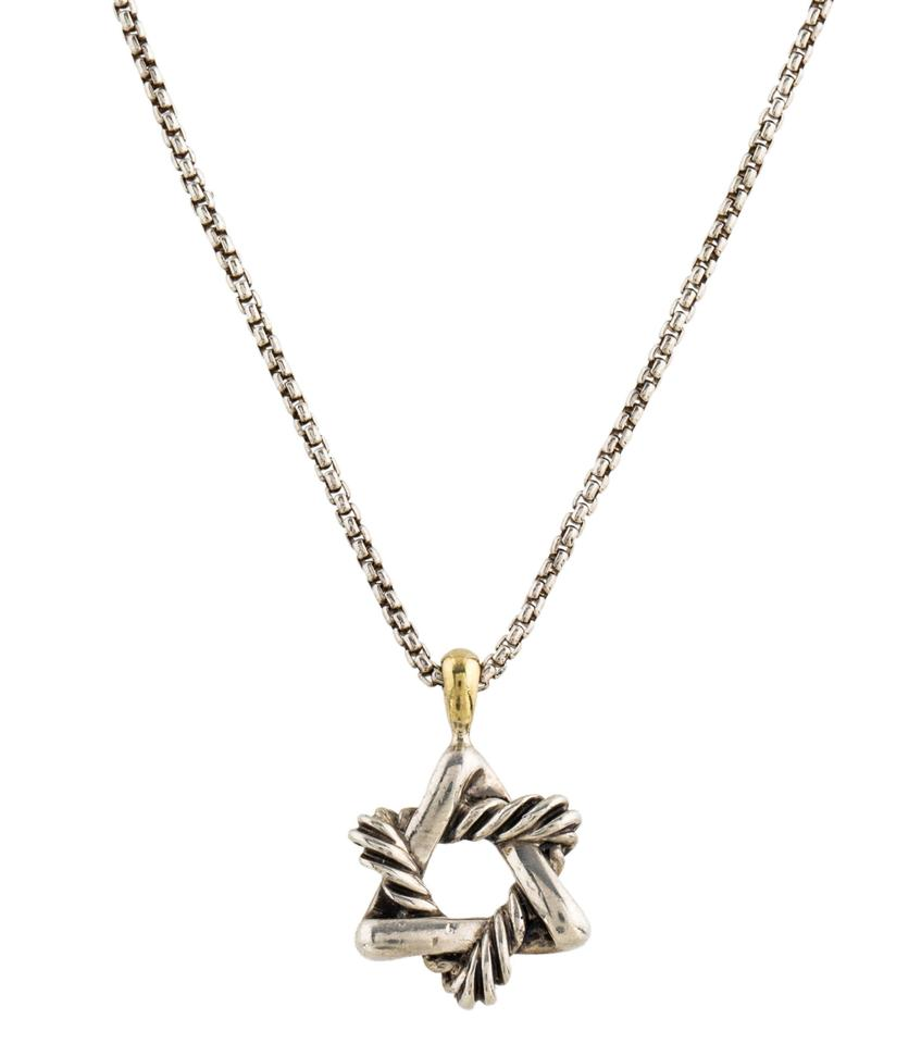 David yurman silver gold star pendant necklace tradesy david yurman david star pendant necklace mozeypictures Image collections