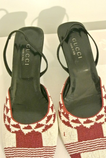 Gucci Designer Beaded Heels Sling Back Red and White Pumps