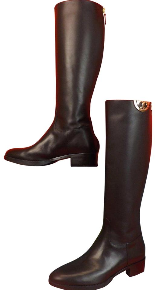 b5b51d2cf Tory Burch Black Sidney Leather Gold Half Reva Tall Riding Boots Booties