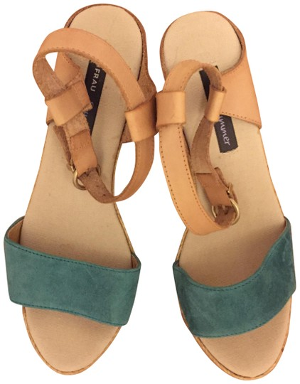 Preload https://img-static.tradesy.com/item/22411639/tan-with-turquoise-band-vintage-collection-wedges-size-eu-37-approx-us-7-regular-m-b-0-3-540-540.jpg