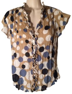 Allison Taylor Ruffle Wrinkled Polka Dot Top Tan white blue navy