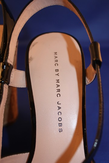 Marc by Marc Jacobs Cork Patent Leather Strappy Slingback Black Sandals