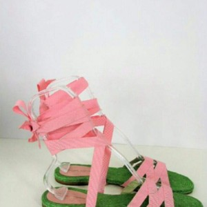 Adrienne Vittadini Pink and Green Sandals