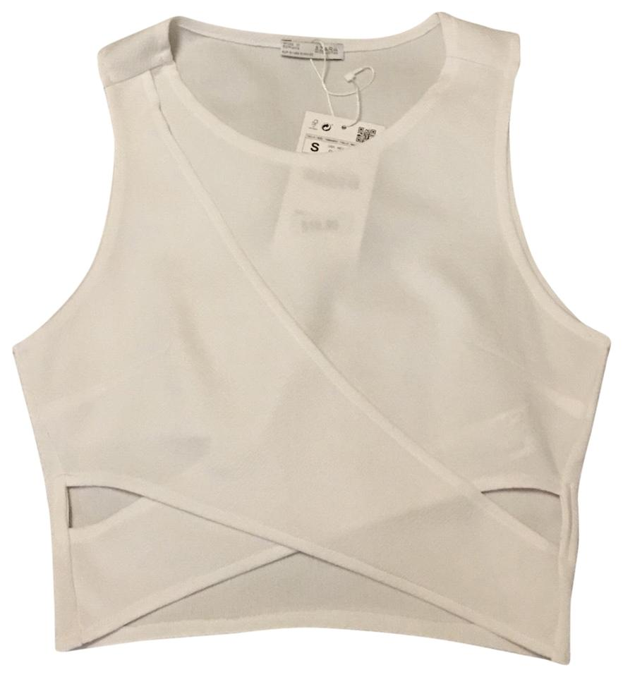 ba8e5979f46a7e Zara White Cut Out Tank Top Cami Size 4 (S) - Tradesy