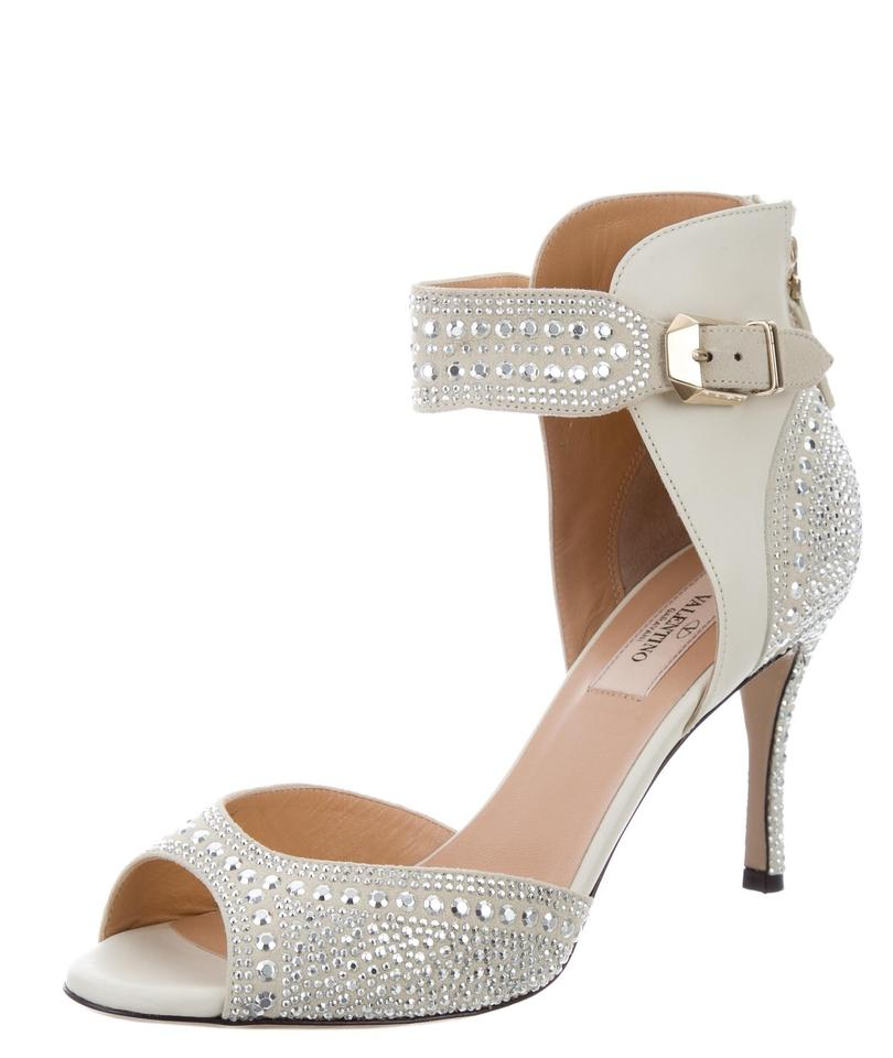 Valentino Suede White Silver Ivory Leather Suede Valentino Crystal Embellished Ankle Pumps 71a44f