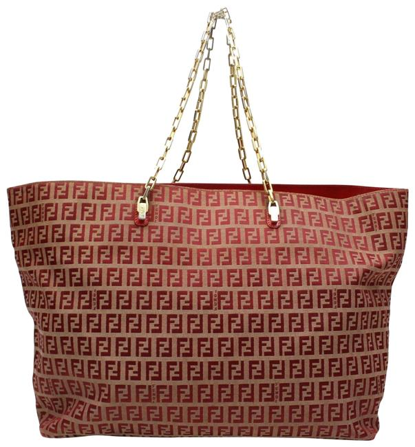 Item - Extra Large Monogram Ff Zucca Chain Tote 123011 Red Nylon Shoulder Bag