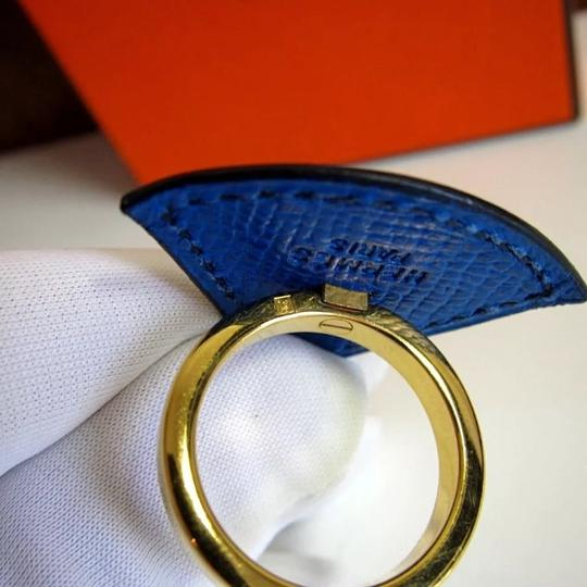 Hermès HERMS cobalt blue CALFSKIN leather RING
