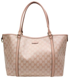 gucci large guccissima imprime tote 123028 pink canvas shoulder bag tradesy. Black Bedroom Furniture Sets. Home Design Ideas