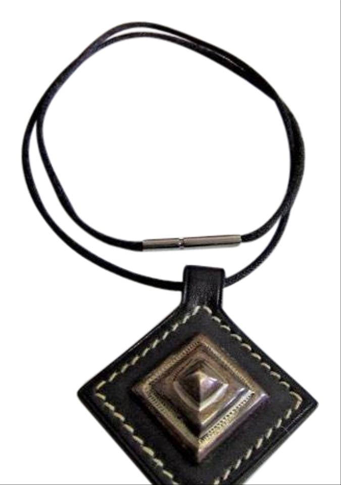 Herms sterling silver leather tuareg pendant necklace tradesy herms herms sterling silver leather tuareg pendant necklace mozeypictures Images