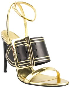 Burberry Hardware Padstow Metallic Ankle Strap Black/Gold Sandals