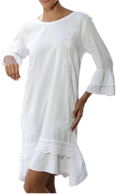 Lirome short dress White Embroidered Cottage Chic Summer Beach on Tradesy