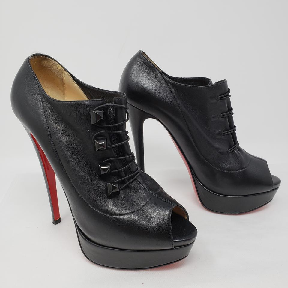best loved 4f436 8464a Christian Louboutin Black Leather Peep-toe Platform Boots/Booties Size EU  40.5 (Approx. US 10.5) Regular (M, B) 37% off retail