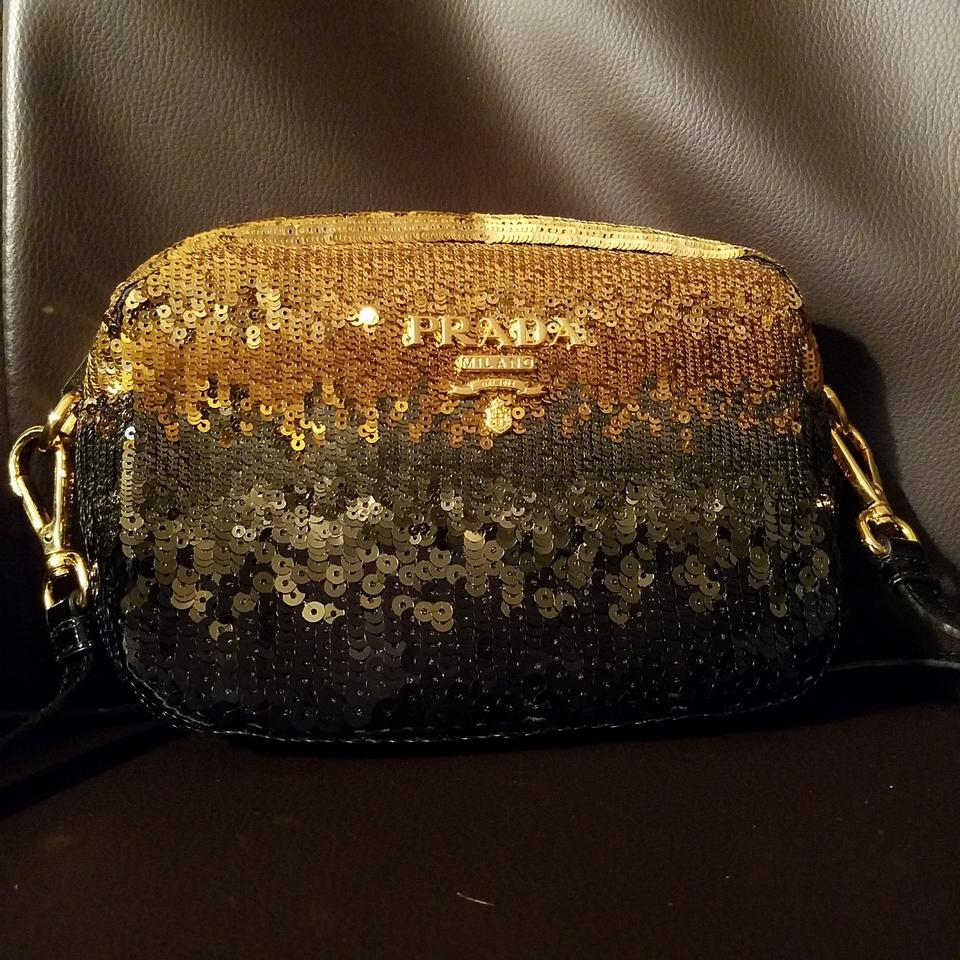 Prada Hombre Gold Green Black Sequin Cross Body Bag - Tradesy d355acf5e9