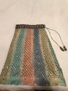 Sweet by Miss Me Embellished Beaded Sequin Silk Sheer Skirt Pastels