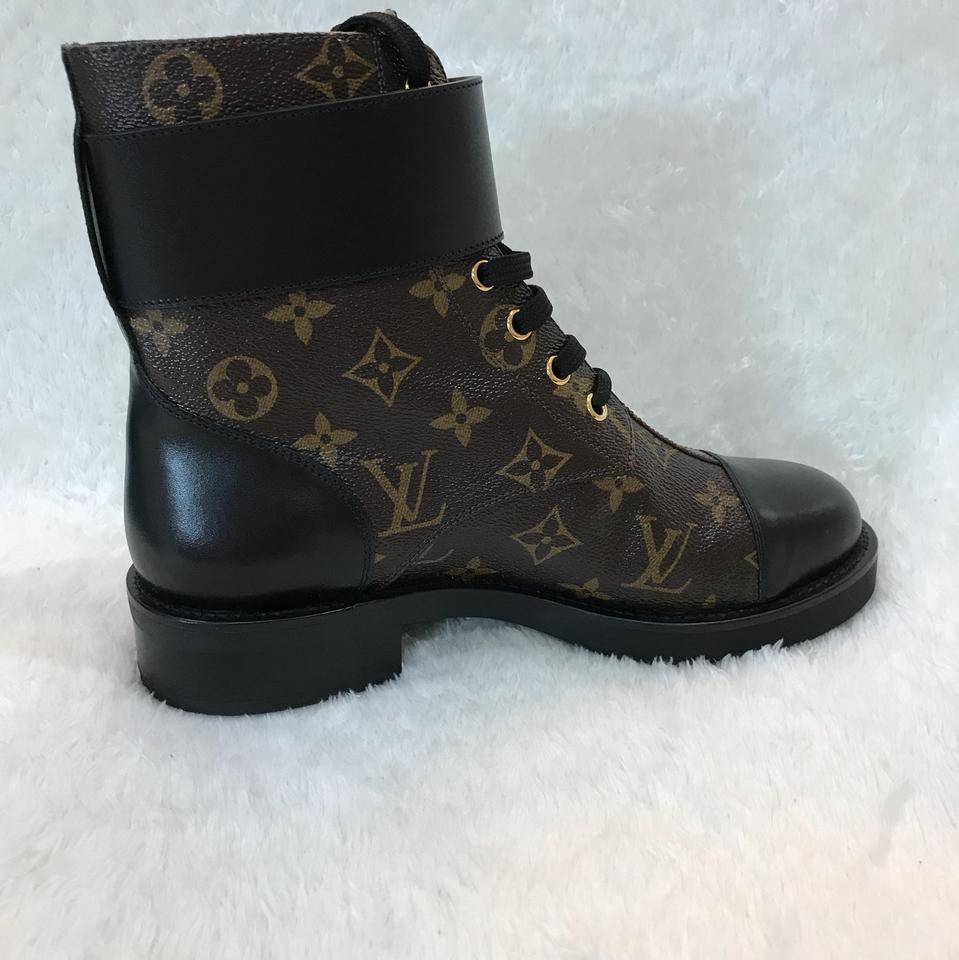 3b6eb3cccb81 Louis Vuitton Black Wonderland Flat Ranger Boots Booties Size US 8 Regular  (M