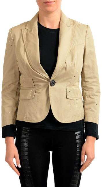 Preload https://img-static.tradesy.com/item/22412515/dsquared2-brown-distressed-one-button-women-s-blazer-size-12-l-0-3-650-650.jpg