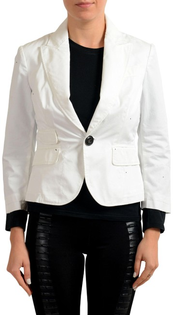 Preload https://img-static.tradesy.com/item/22412556/dsquared2-white-distressed-one-button-women-s-blazer-size-12-l-0-4-650-650.jpg