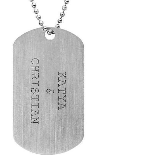 Apples of Gold Engraveable Dog Tag Necklace in Sterling Silver